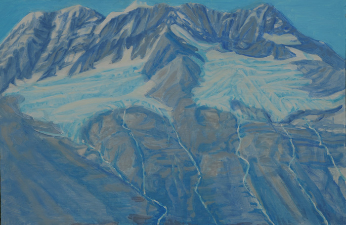 painting titled Hanging Glaciers, Prince William Sound, Alaska