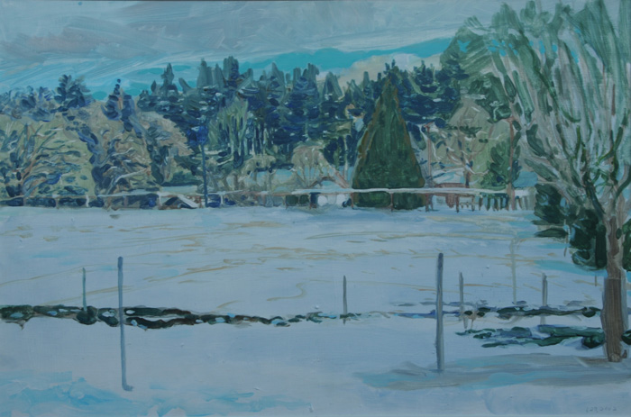painting titled Pasture In Snow, One