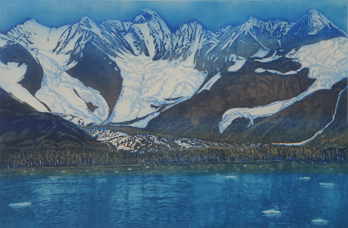 etching titled Three Glaciers, Prince William Sound, Alaska