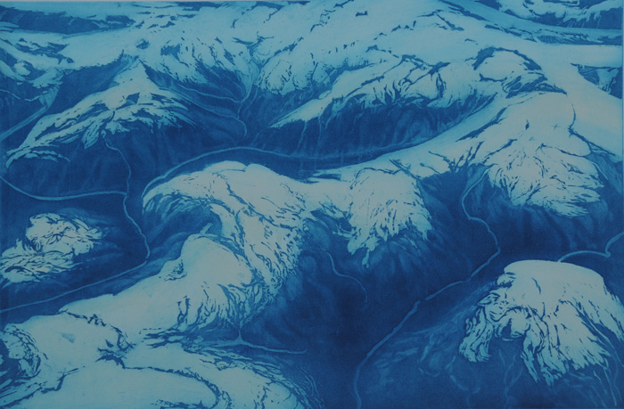 etching titled Southeast Alaska Aerial