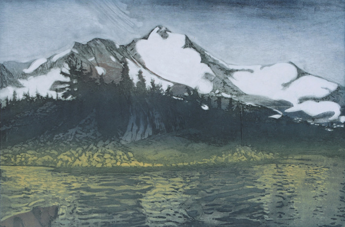 etching titled Mount Jefferson From Bays Lake