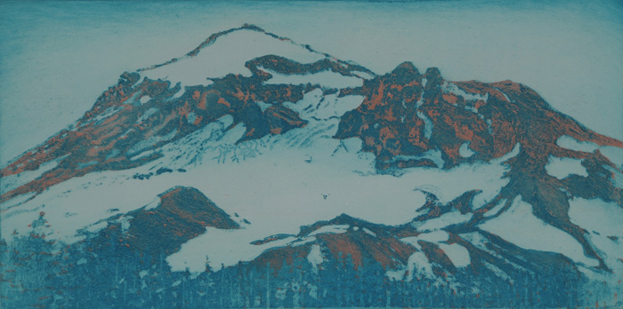 etching titled South Sister from Park Meadow