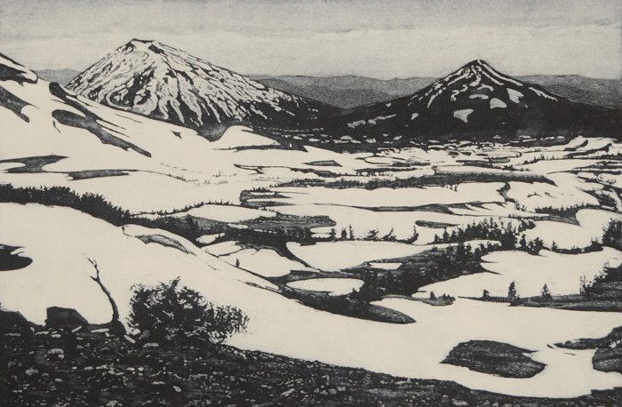 etching titled Snow On Lava