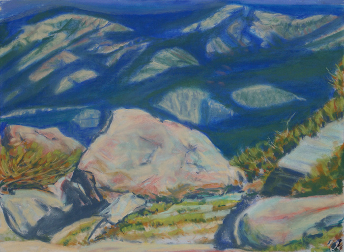 drawing titled Hood River Valley, From Mount Hood